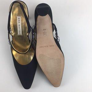 ann marino Heels Black Satin Pumps Size 9M Slight